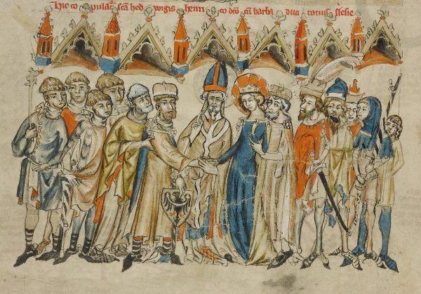 Kiedy św. Jadwiga brała ślub z Henrykiem I Brodatym, nie mogła nawet podejrzewać, że ich najstarszy wnuk okaże się taką kanalią... (źródło: domena publiczna).