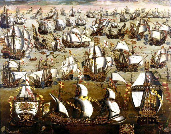Zatrzymanie Wielkiej Armady - jeden z największych sukcesów Elżbiety I Tudor (źródło: domena publiczna).