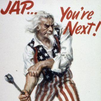 Amerykański plakat propagandowy, zachęcający do rozprawienia się z Japończykami (źródło: domena publiczna).