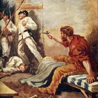Śmierć Jamesa Bowiego, współdowódcy obrony Alamo (rys. Charles A. Stephens, domena publiczna).