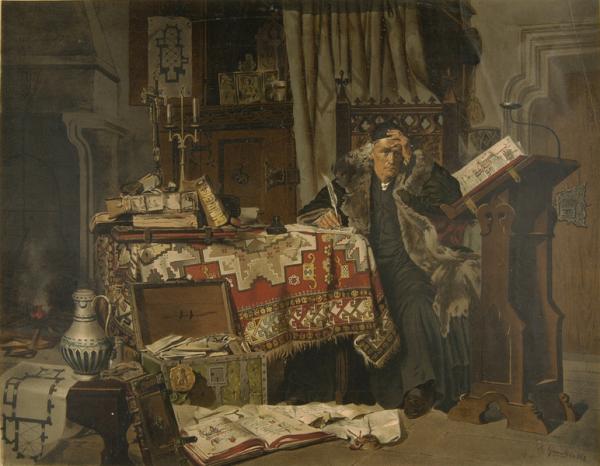 Wybitny kronikarz Jan Długosz na obrazie autorstwa Antoniego Gramatyki (źródło: domena publiczna).