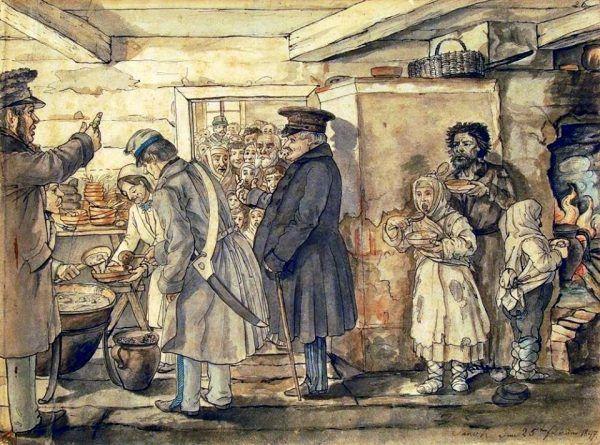 W ogonku po darmowy chleb z pewnością z chęcią ustawiłby się niejeden XIX-wieczny nauczyciel... (źródło: domena publiczna).W ogonku po darmowy chleb z pewnością z chęcią ustawiłby się niejeden XIX-wieczny nauczyciel... (źródło: domena publiczna).