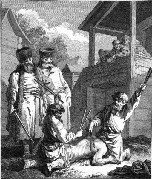 """Zamiast srogiej kary, nauczyciel X. dostał od sądu sporo grosza. Na pewno nie spodziewał się takiego obrotu sprawy... Na ilustracji rycina Jeana-Baptiste Le Prince'a """"Kara batogów"""" (źródło: domena publiczna)."""