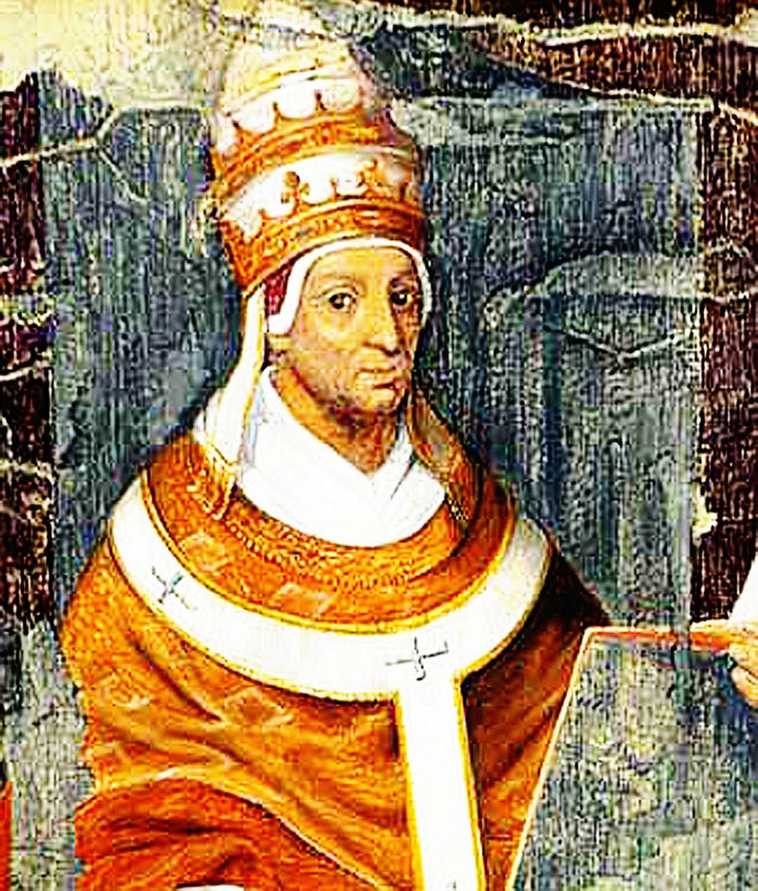 Jan XXII - papież, który nie wierzył w piekło - na średniowiecznym fresku z Awinionu (źródło: domena publiczna).