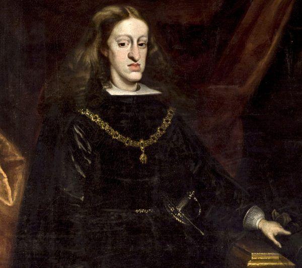 Karol II - siostrzeniec, kuzyn i podwójny szwagier Leopolda I - miał tyle defektów fizycznych, że aż trudno uwierzyć, że przeżył 39 lat. Obraz Juana Carreño de Mirandy (źródło: domena publiczna).