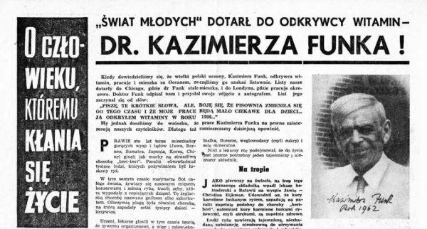 """""""Świat Młodych"""" z 1962 roku pisał o odkrywcy witamin Kazimierzu Funku. Zdjęcie oraz podpis z książki Marka Boruckiego """"Wielcy zapomniani. Polacy, którzy zmienili świat""""."""