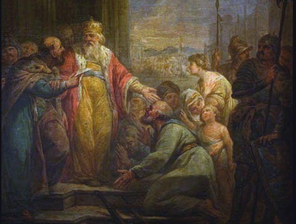Na tym obrazie Marcello Bacciarelliego z 1796 roku widzimy łaskawość Kazimierza Wielkiego względem chłopów. Tylko jakoś można odnieść wrażenie, zabrakło mu jej w stosunku do nieślubnych potomków (źródło: domena publiczna).