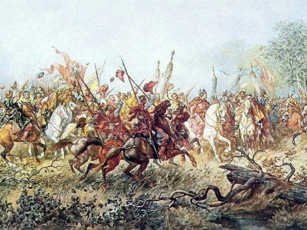 W bitwie pod Korsuniem 26 maja 1648 roku wojska koronne poniosły druzgocącą klęskę. Choć przeciwnik miał zdecydowaną przewagę liczebną, wszyscy i tak byli przekonani, że główną przyczyną przegranej było pijaństwo hetmana Potockiego. Obraz Juliusza Kossaka, przedstawiający spotkanie Chmielnickiego z Tuhaj Bejem pod Korsuniem (źródło: domena publiczna).