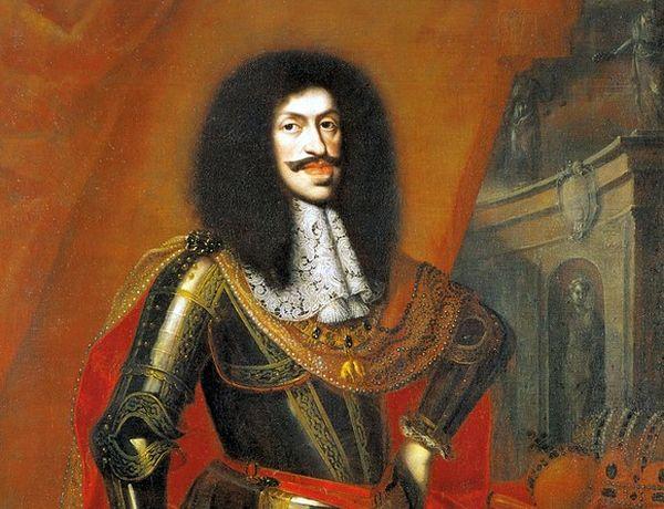Czy to karykatura? Nie, cesarz Leopold I po prostu tak wyglądał. Fragment obrazu Benjamina von Blocka (źródło: domena publiczna).
