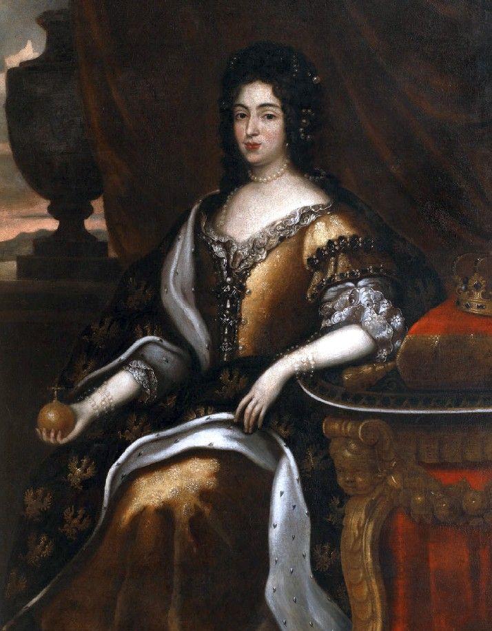Uzyskanie jasnej cery z rumieńcem jak u Marysieńki wymagało wielu wyrzeczeń. Portret Marysieńki pędzla Jana Triciusa z 1676 roku, znajdujący się w zasobach Muzeum Pałacu w Wilanowie (źródło: domena publiczna).