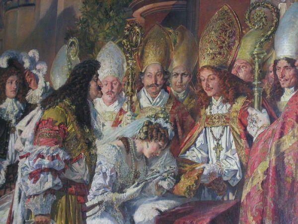 Mimo obiekcji Eleonora Magdalena w końcu poślubiła cesarza Leopolda I. Na obrazie z 1890 roku autorstwa Ferdinanda Wagnera widzimy ceremonię zaślubin tej pary (źródło: domena publiczna).
