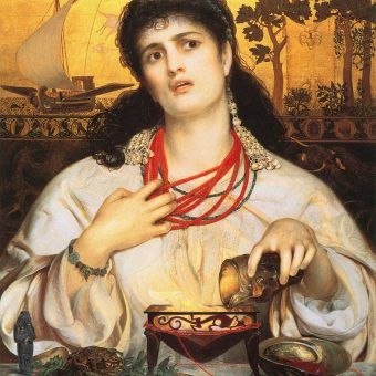 """Tak mogła wyglądać sarmatka przygotowując napar na spędzenie płodu. Obraz """"Medea"""" Anthony'ego Fredericka Augustusa Sandysa (źródło: domena publiczna)."""