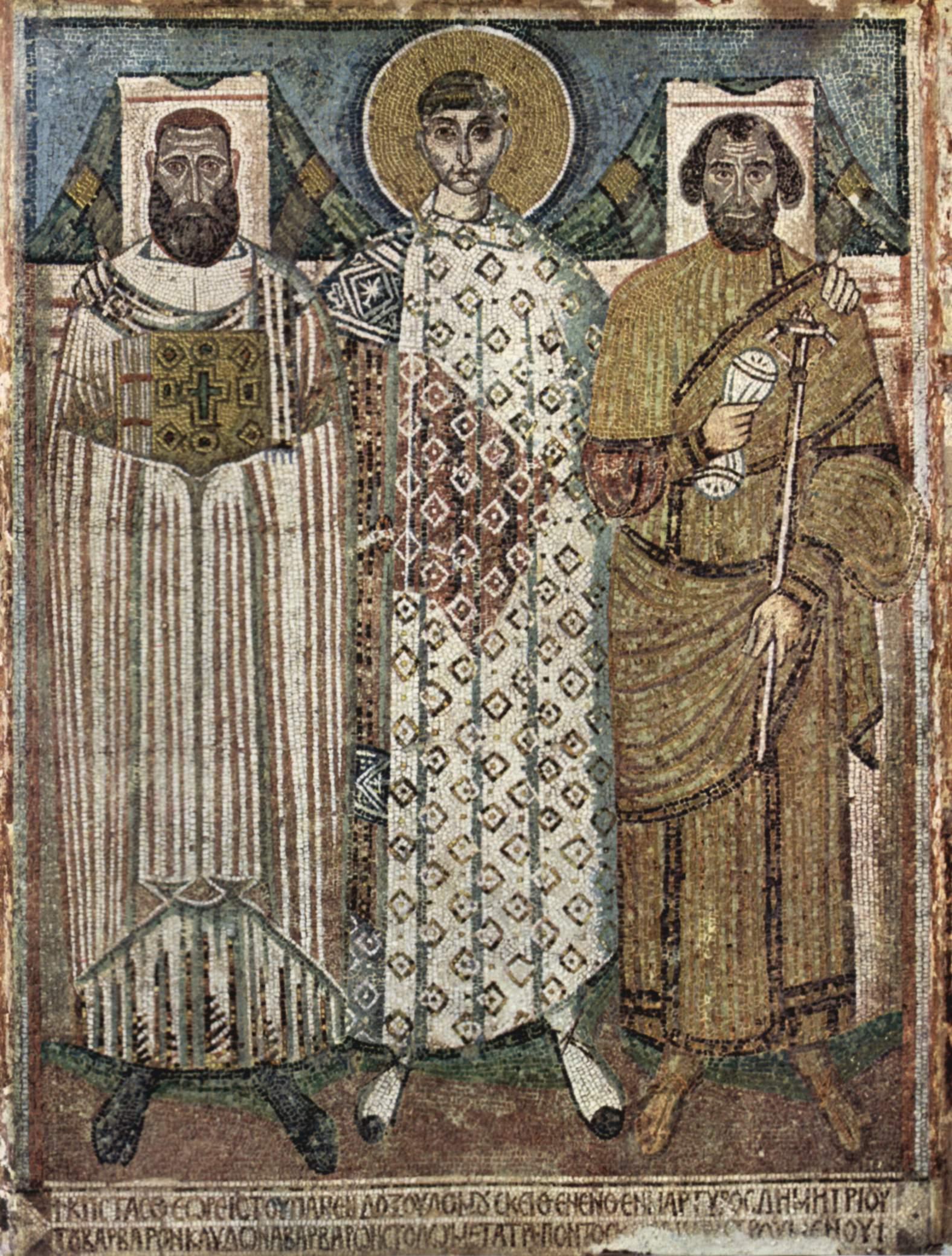 Mozaika przedstawiająca Dymitra z Salonik. Przykład bizantyjskiej sztuki z przełomu VII i VIII wieku (źródło: domena publiczna).
