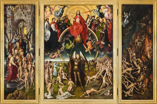 """Przed sądem ostatecznym nie ma ani nieba, ani piekła, a dusze czekają na wyrok przed Bożym ołtarzem. Takie rozumowanie papieża, choć spójne wewnętrznie, spotkało się z głęboką dezaprobatą środowisk kościelnych. Tryptyk Hansa Memlinga """"Sąd Ostateczny"""" z ok. 1470 roku (źródło: domena publiczna)."""