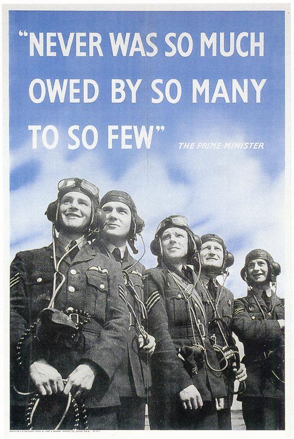 """""""Jeszcze nigdy tak liczni nie zawdzięczali tak wiele tak nielicznym"""" tymi słowami Winstona Churchilla zachęcano młodych ludzi do wstąpienia w szeregi RAFu (źródło: domena publiczna)."""