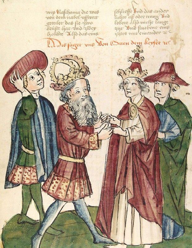 Spotkanie cesarza Ottona I z papieżem Janem XII według XV-wiecznej miniatury. To właśnie ten niezrównoważony młodzieniec uwieńczył głowę króla Niemiec cesarską koroną (źródło: domena publiczna).