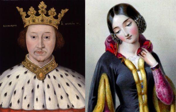 """Król Ryszard II i """"przyczyna"""" jego szaleństwa - Anna Luksemburska, królewna czeska z dużą domieszką polskiej krwi (źródło: domena publiczna)."""