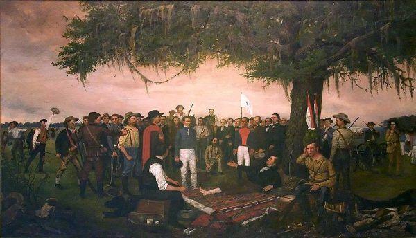 Antonio López de Santa Anna poddaje się Amerykanom po bitwie pod San Jacinto (obraz Williama Huddle'a, doemna publiczna).