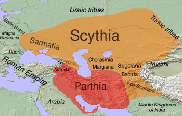 """Chociaż irańscy Scyci ze słowiańskimi Ukraińcami nie mają nic wspólnego, oprócz tego, że żyli na tej samej ziemi, niektórzy """"badacze"""" nazywają ich Protoukraińcami (autor: Dbachmann, lic.: CC BY-SA 3.0)."""