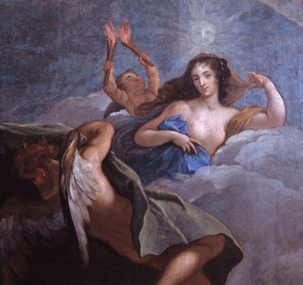Przepiękne długie włosy Marysieńki, cudnie zakręcone, możemy podziwiać choćby na tym obrazie Jerzego Siemiginowskiego-Eleutera z 1685 roku, który przedstawia królową jako Jutrzenkę (źródło: domena publiczna).