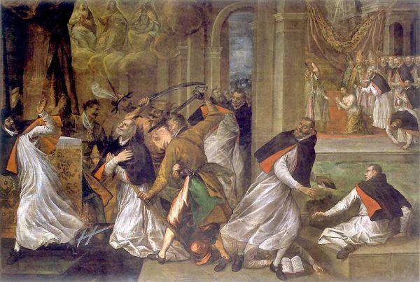Wizja śmierci Tomasza Becketa autorstwa Tommaso Dolabella. Czy historia morderstwa brytyjskiego biskupa była inspiracją do wykreowania legendy świętego Stanisława? (źródło: domena publiczna)