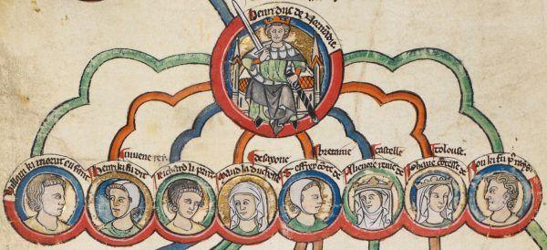 Choć Henryk II starał się zapewnić swym bastardom dobrobyt, nie było dla nich miejsca w oficjalnym drzewie rodzinnym. Na miniaturze z przełomu XIII i XIV wieku król Anglii i ósemka jego ślubnych dzieci (źródło: domena publiczna).