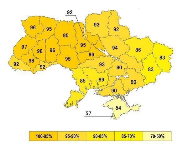 Wyniki referendum niepodległościowego z 1 grudnia 1991 roku na Ukrainie. Za niezależnością od Rosji opowiedziała się zdecydowana większość (autor: Alex K, lic.: CC BY-SA 3.0).