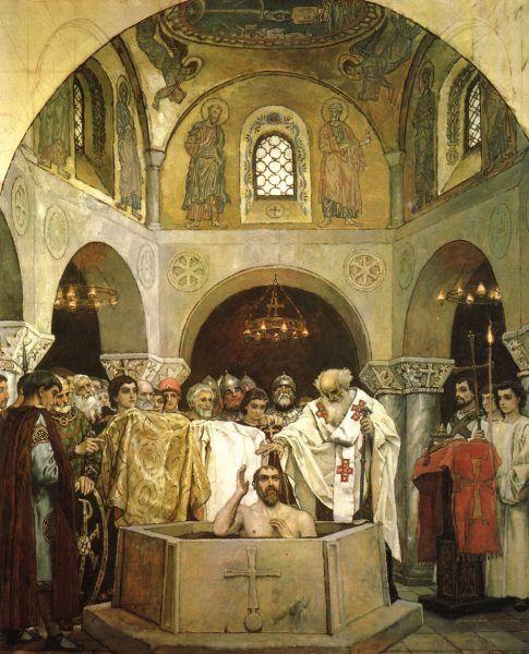 """Historia lubi mieć """"datę początkową"""" i """"końcową"""", dlatego za początek Rusi Kijowskiej przyjęło się uważać chrzest Włodzimierza w 988 roku. Tak naprawdę państwo istniało wcześniej (źródło: domena publiczna)."""