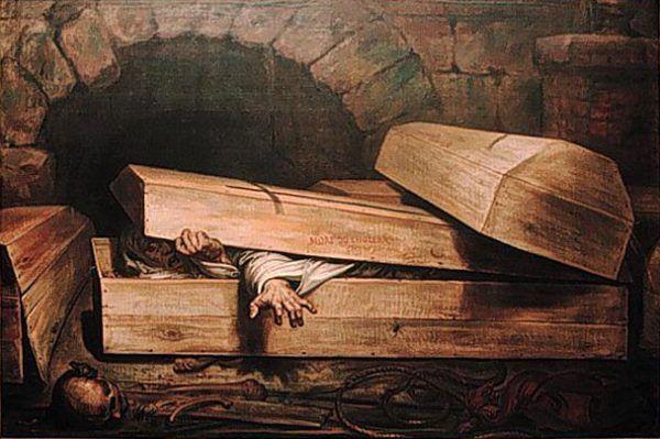 Strach przed nagłym ożyciem umarłych ma bardzo długą historie. Obraz Antoine'a Wiertza (źródło: domena publiczna).