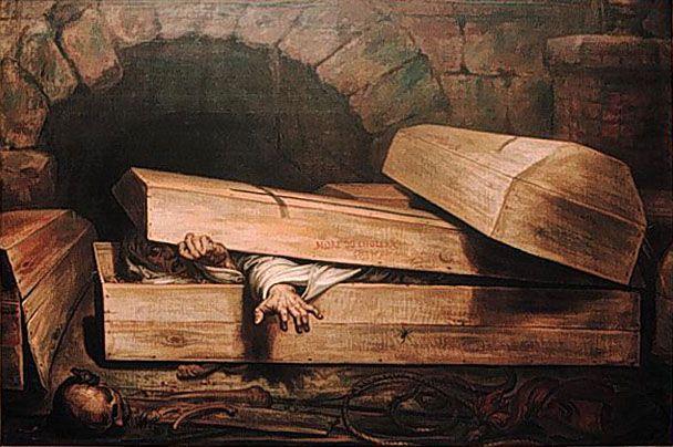 """Antoine Wiertz, """"Żywcem pogrzebany"""", 1854 r. (źródło: domena publiczna)."""