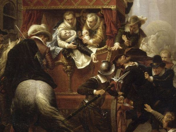 Polscy magnaci mieli nieszczęście trafić w centrum zamieszania powstałego po królobójstwie. Zamach na Henryka IV na obrazie Charlesa-Gustave'a Houseza (źródło: domena publiczna).