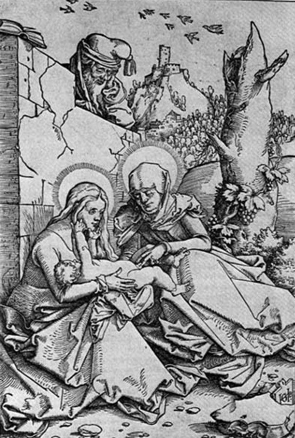 Gest świętej Anny z grafiki Baldunga może wydawać się nam dwuznaczny. Jednak wówczas, gdy dzieło powstawało, nikt nie czuł się nim zgorszony (źródło: domena publiczna).