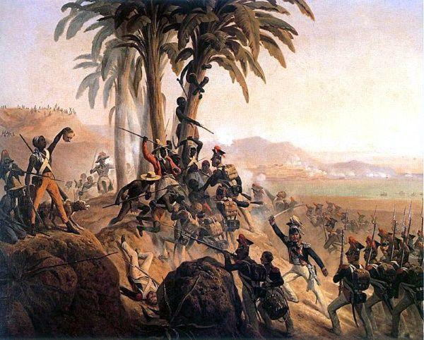 Haitańczycy nie szczędzili starań, by uwolnić swoją wyspę od francuskich okupantów... Obraz Januarego Suchodolskiego (źródło: domena publiczna).