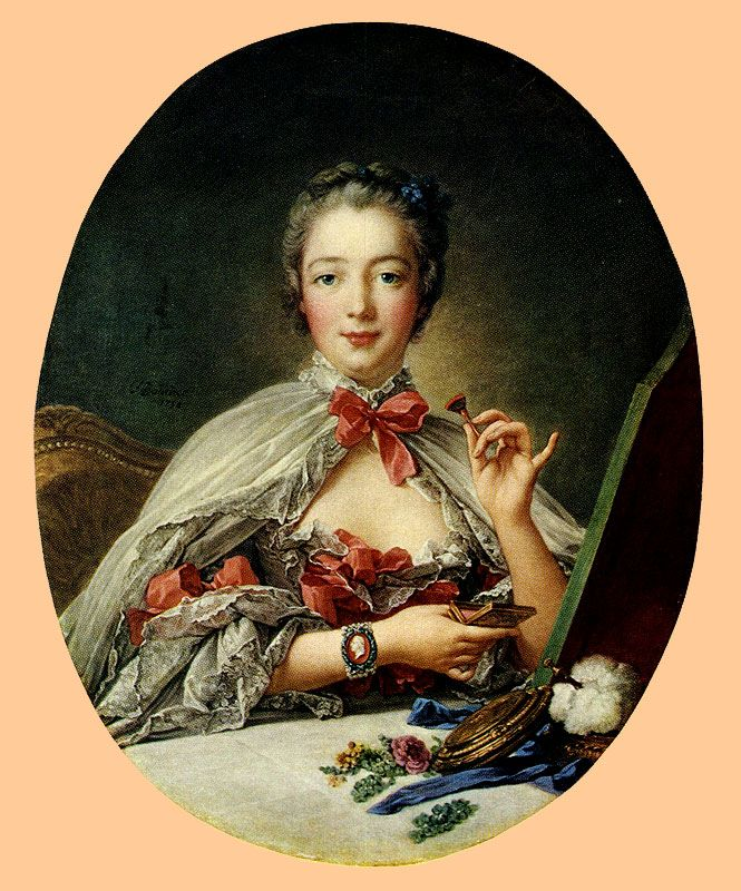 W nieco późniejszych czasach polskie elegantki wzorowały się na Madame de Pompadour, Obraz Françoisa Bouchera z 1758 roku (źródło: domena publiczna).