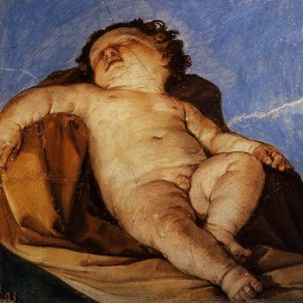 """Na renesansowych obrazach często eksponowano chłopięce genitalia. Dziś """"Śpiący cherubin"""" Guido Reniego mógłby być traktowany jak dziecięca pornografia (źródło: domena publiczna)."""