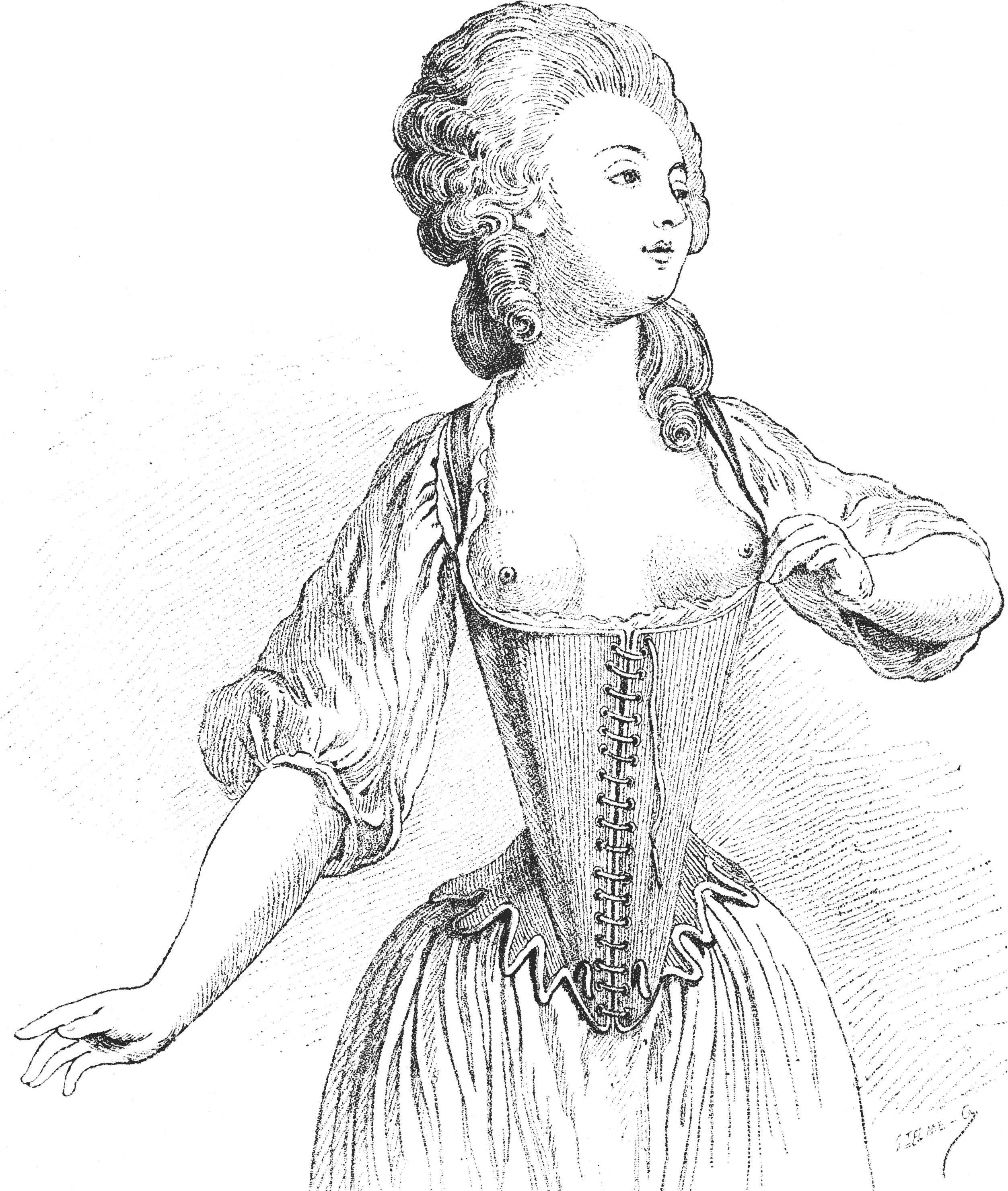 """W oczach zgorszonych sarmatów kobiety w gorsetach wyglądały niemalże jak ta pani z XVIII-wiecznego """"l'Essai du corset"""" na rysunku autorstwa de Wille (źródło: domena publiczna)."""