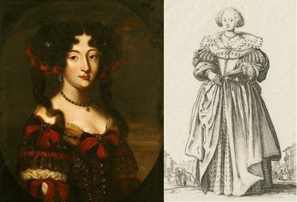 Wysokie czoło było w modzie. Widzimy je i u Marysieńki (sportretowanej przez Jacoba-Ferdinanda Voeta), jak i lotaryńskiej XVII-wiecznej damy (na rysunku Callota Jacquesa), której wygląd jest dla nas wręcz groteskowy (źródło: domena publiczna).