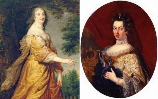 Królowa Maria Ludwika (po lewej na obrazie Justusa von Egmonta z 1645 roku) wprowadziła do Polski muchy, ale to jej chrześniaczka, Marysieńka (po prawej na XVIII-wiecznym portrecie), była mistrzynią ich używania (źródło: domena publiczna).