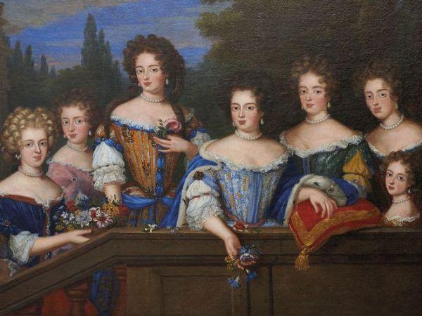 Gdy szlachcica otoczył go ten miłosny legion królowej, wpadał jak śliwka w kompot. Potem szybki ślub i stronnictwo dworskie rosło. Ubrane na modłę francuską dwórki Marii Kazimiery, dawniej dwórki Ludwiki Marii, na obrazie Henri Gascarda z lat 80. XVII wieku (źródło: domena publiczna).