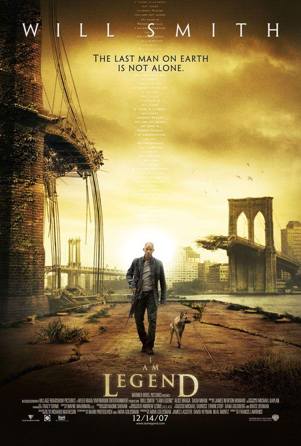 """Film """"Jestem legendą"""" jest zupełnie inny niż większość produkcji o żywych trupach. Na ilustracji plakat promocyjny."""