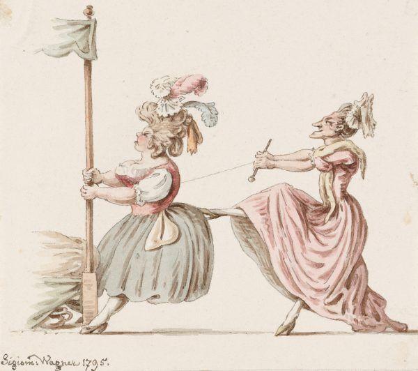 Karykatura przedstawiająca zawiązywanie gorsetu. Akwarela Zygmunta Wagnera z 1795 roku z kolekcji Szwajcarskiej Biblioteki Narodowej (źródło: domena publiczna).