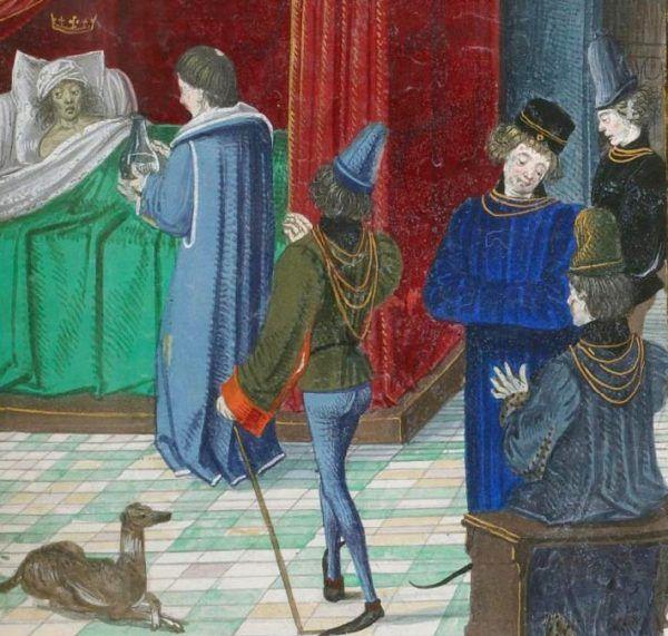 """Medycy starali się przeciwdziałać chorobie Karola VI. Nadaremno. Miniatura z """"Kronik"""" Jeana Froissarta z ok. 1470 roku (źródło: domena publiczna)."""