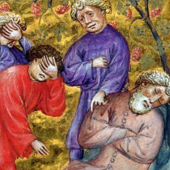 I jak tu traktować poważnie takie przydomki... Ilustracja z XIV-wiecznej niderlandzkiej Biblii Pauperum przedstawiająca synów Noego, oglądających obnażonego ojca (źródło: domena publiczna).