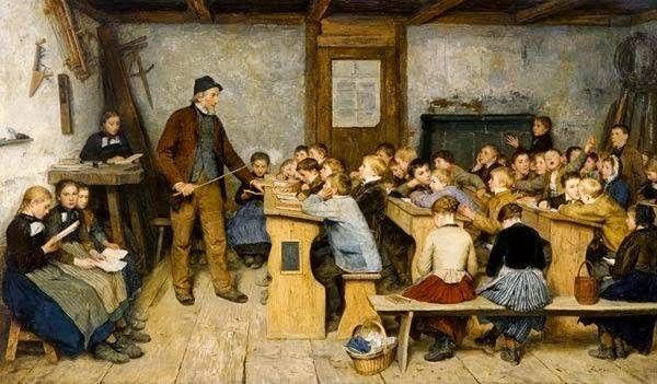 Przepełnione, nieogrzewane klasy, nierzadko z grzybem i karaluchami - takie były warunki pracy XIX-wiecznego nauczyciela (źródło: domena publiczna).