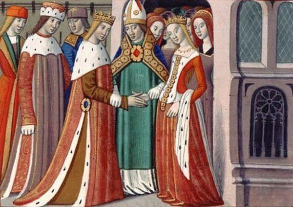 """Mimo zniesmaczenia kobiecymi urokami francuskiej księżniczki Małgorzaty, Henryk VI pojął ją za żonę. Ilustracja z """"Vigiles du roi Charles VII"""" (źródło: domena publiczna)."""