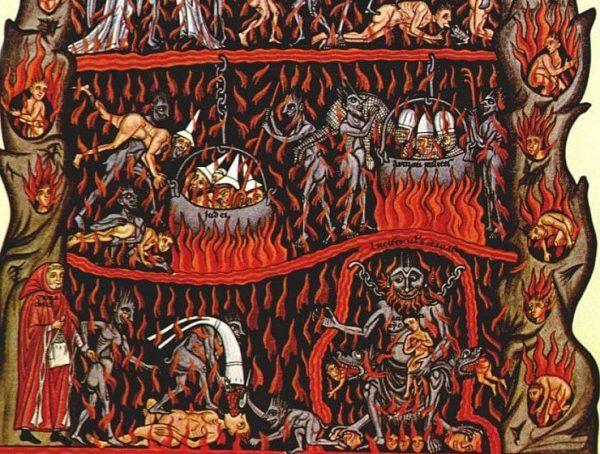 """Takie piekło kojarzy nam się z wyobrażeniami sprzed tysiąclecia. Ale niekoniecznie słusznie. Średniowieczna ilustracja z """"Hortus deliciarum"""", manuskryptu Herrady z Landsbergu z około 1180 roku (źródło: domena publiczna)."""