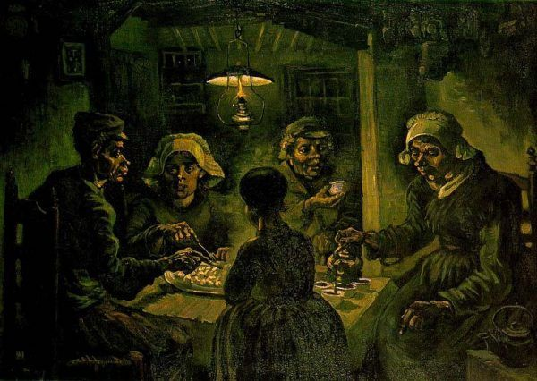 """Obraz nędzy nauczyciela X., wyłaniający się z zeznań świadków, wzruszył przysięgłych i publiczność procesową do łez. Na ilustracji obraz Vincenta van Gogha """"Jedzący kartofle"""" (źródło: domena publiczna)."""