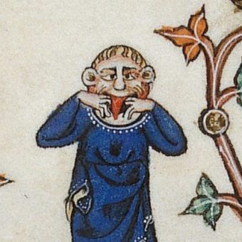 """Takie drobne szaleństwo to nic w porównaniu z tym, czego dokonywali niezrównoważeni psychicznie królowie. Detal z angielskiego """"Psałterza Gorleston"""" z pierwszej połowy XIV wieku (źródło: domena publiczna)."""