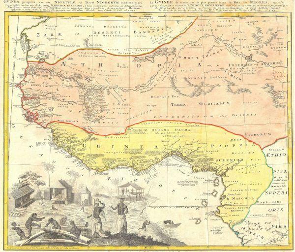 Na XVIII - wiecznej mapie Homanna Heirsa pokazano Zatokę Niewolników - wybrzeże Zachodniej Afryki, obecnie tereny Nigerii, Beninu. To stąd biegły główne szlaki handlowe do Ameryki (źródło: domena publiczna).