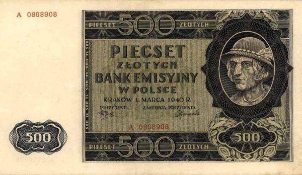 """Egzekutorzy Armii Krajowej dostawali pensje dużo wyższą, niż osoby stojący wysoko w hierarchii Państwa Podziemnego! Na ilustracji 500 złotych z czasów okupacji, czyli tak zwany """"góral"""" (źródło: domena publiczna)."""